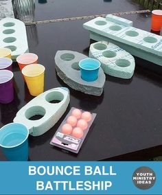 Bounce Ball Battleship – bounce your ball in to the other team's cups to sink their ships. Youth Ministry Ideas and Games.