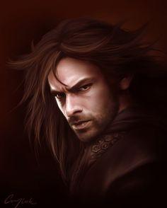 "Middle-earth: #Kili (#Aidan #Turner), ""The Hobbit.""  ""Kili the Fierce,"" by Aegileif, at deviantART."