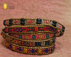Boho Wrap Pulsera multicolores de las mujeres con cristales y