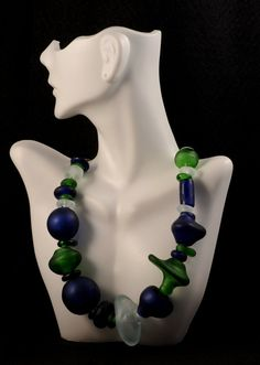 Blue green hand blown hollow glass beads by MYglassdesigns on Etsy