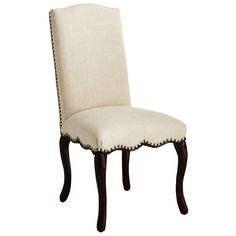 A  camelback headrest and coquettish cabriole legs belie sturdy hardwood construction. Flax-colored linen-blend fabric features a herringbone weave, complemented unexpectedly by a flirty, scalloped apron and decorative nailhead trim. Claudine Flax Dining Chair $199.95 Item: 2772483