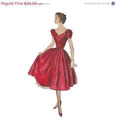 25% DISCOUNT Vintage 1950s Bouffant Dress Pattern by Redcurlzs