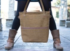 Waxed canvas tote  Waxed canvas bag leather canvas by Laroll
