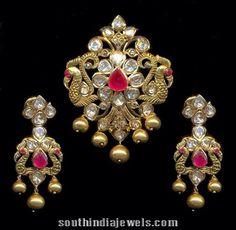 Gold Pachhi peacock pendant sets with chandbali earrings