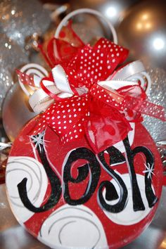 christmas painted crafts | Hand painted Christmas ornament. $12.00, via Etsy. | crafts