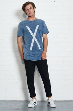 nana judy - Crossed T-Shirt - Acid Indigo