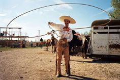 A roper at a charreada, or Mexican rodeo