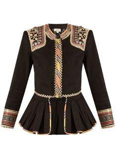 Embroidered peplum-hem cotton jacket   Talitha   MATCHESFASHION.COM UK
