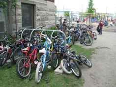 School Bike Parking - Neighbourhood Network of Parent Cycling Champions - how to help your kids ride to school.