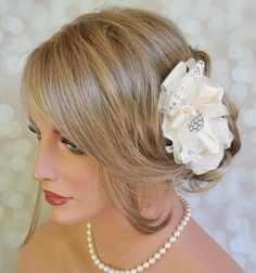 Stunning Ivory Bridal Hair Accessory - Bridal Hair Flower by FancieStrands