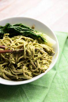 Creamy Sesame-Avocado Soba Noodles | Vegan + Gluten-Free- soba noodles, soy sauce, bok choy, avocado, lime juice, sesame oil, ginger root