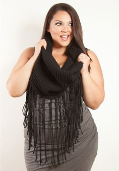 Infinity Fringe Knit Scarf - Black - Curvalicious Clothes