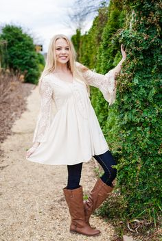 Forever Southern Dress - Belle sleeves are oh so southern! Our Forever Southern dress, featured in a warm cream, has lots of little southern twists that make this piece great!