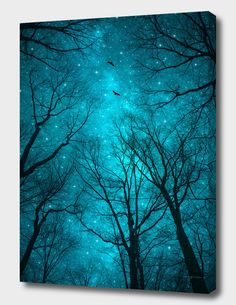 Stars cant Shine Without Darkness Canvas Art Print by Soaring Anchor Designs Tree Silhouette Tattoo, Silhouette Art, Dark Paintings, Tree Art, Canvas Art Prints, Wall Prints, Night Skies, Dark Art, Painting Inspiration