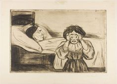 A disturbing etching from  Edvard Munch---1901---The dead mother and her child------from Thanatos archives.