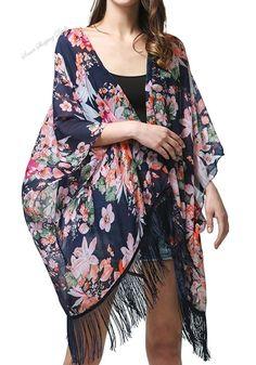 Womens Light Floral Print Chiffon Kimono Cardigan Coverup Blouse Tops, One... #MissShorthair #NA