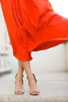 Orange skirt with nude sandals