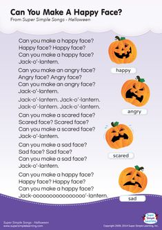 Lyrics poster for Can You Make A Happy Face? Halloween song from Super Simple Learning.