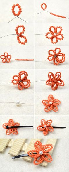 Tutorial for orange seed beaded hair clip from LC.Pandahall.com