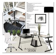 """Office Space"" by pmcdl ❤ liked on Polyvore featuring interior, interiors, interior design, home, home decor, interior decorating, Heathfield & Co., Nearly Natural, modern and design"