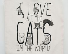Natural I love all the cats in the world bag by Doodlecats on Etsy