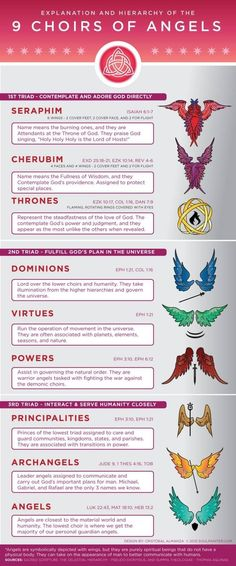 Infographic and details explanation and hierarchy of the 9 choirs of angels in heaven. Including biblical references and visuals of the wings and symbols. Ange Demon, Angels And Demons, Cherub, Holy Spirit, Bible Scriptures, Bible Doctrine, Prayers, Faith, Celestial