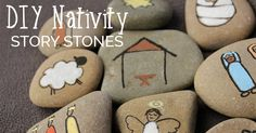 Create your own Nativity Story Stones to help children understand the true meaning of Christmas. These simple stones are easy to make. Meery Christmas, Christmas Favors, Christmas Projects, Christmas Themes, Christmas Quotes, Christmas Ornaments, Christmas Crafts For Toddlers, Preschool Christmas, Toddler Crafts