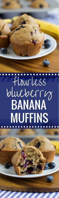Flourless Blueberry Banana Muffins- just 5 minutes to prep! Made easy in a blender using wholesome ingredients. Gluten-free, oil-free,  dairy-free and refined sugar-free!