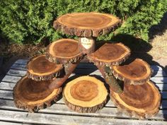 Perfect Union Wood Burned Rustic Cupcakes Pie Stand Wedding 8 Tiers Personalized #Unbranded