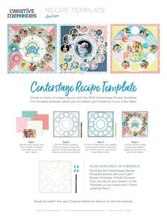 Creative Memories template Snap shot Recipe tracing pattern with clips