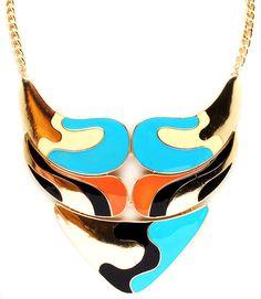 PWB0175 - Color block bib necklace