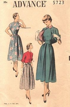 Advance 5723 Misses Dress & Lined Bolero Sewing Pattern, Vintage 1940s Unprinted Pattern