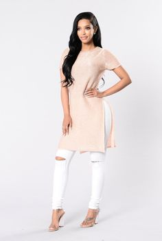 - Available in Rose Gold - Metallic Finish - Knit Top - Side Slit - 77% Acrylic 23% Metallised Fibers