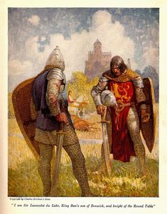"""""""I am Sir Launcelot du Lake, King Ban's son of Benwick, and knight of the Round Table"""" by: N. Wyeth (Artist) from: The Boy's King Arthur: Sir Malory's History of King Arthur and His Knights of the Round Table (P. King Arthur Legend, Legend Of King, Pop Art, Fantasy Kunst, Fantasy Art, King Arthur's Castle, The Boy King, Mists Of Avalon, Nc Wyeth"""