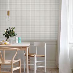 A classic which has been with us for many years and is a favourite of our loyal customers. The painted cheques in pale pastel shades give the room a rural look. Now updated with a cheeky graphite/white colour combination. Checker Wallpaper, Tartan Wallpaper, Wallpaper Size, Pattern Wallpaper, Dining Room Wallpaper, Pastel Shades, Ceiling Height, Color Combinations