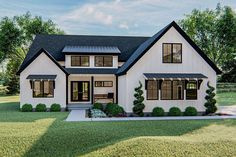 Plan One-Story Modern Farmhouse Plan with Upstairs Loft Plan One Story 3 Bed Modern Farmhouse Plan With Upstairs Loft Spa Exterior, Dream House Exterior, House Ideas Exterior, House Exteriors, Modern Home Exteriors, Simple House Exterior, Best Exterior House Paint, Exterior Homes, Stucco Homes