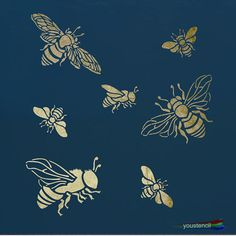 Bumble Bee Stencil for Walls, Furniture and Art - New Ideas Bee Stencil, Damask Stencil, Stencil Walls, Wall Stenciling, Stencil Templates, Stencil Patterns, Printable Stencils, Embroidery Patterns, Hand Embroidery