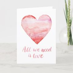 Valentines Day Cards Handmade, Valentines Day Holiday, Valentine Day Crafts, Valentine Images, Valentines Watercolor, Watercolor Cards, Paint Cards, Valentine's Day Diy, Cool Cards