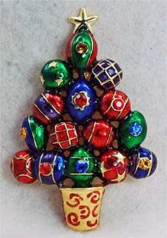 "LARGE ORNAMENT CHRISTMAS TREE PIN BROOCH RHINESTONES 3"""