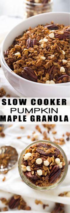 Slow Cooker Pumpkin Granola | Healthy, Crock Pots, Simple. Recipe, Gluten Free, Easy Recipe, Overnight Oatmeal