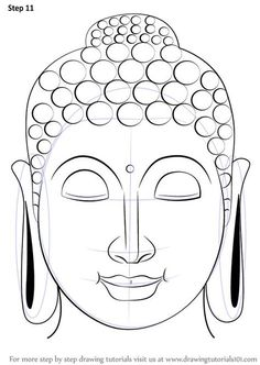 Drawing Faces Learn How to Draw Buddha Face (Buddhism) Step by Step : Drawing Tutorials Budha Painting, Mural Painting, Buddha Drawing, Buddha Face, Buddha Head, Buddhist Art, Buddha Buddhism, Indian Art Paintings, Art Drawings Sketches