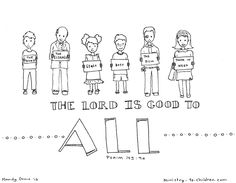"""Psalm-145-9a Coloring Page """"THE LORD IS GOOD TO ALL"""""""