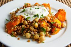Roasted Butternut Squash and Chickpea Wheatberry Salad w/ tahini & Greek yogurt