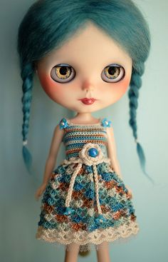 Cute teal braids and darling dress (Custom Blythe doll by Art_emis)