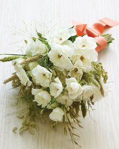 No matter where in the world you wed, white blooms are almost always available and in season. Start there, and mix in regional filler for freshness and flair. For Country Weddings Rattlesnake grass (in bouquet at left) looks soft and lovely against a background of rolling fields. Also consider wildflowers, lavender, or rosemary. For Beach Unions Shells or foliage are stunning in sandy spots. Also consider ginger flower, palm fronds, or sea grass. For Mountain Nuptials Pinec...