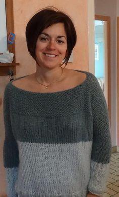 Voici un tuto de Anne : un pull bi-colore facile à faire. Like et partage ce post pour l'aider à gagner le concours Winter Break. Pull bigoût de Catcat revisité à ma façon il faut une Laine l… Crochet Woman, Diy Crochet, Free Knitting, Knitting Patterns, How To Purl Knit, Warm Outfits, Knitwear, Ideias Fashion, Voici