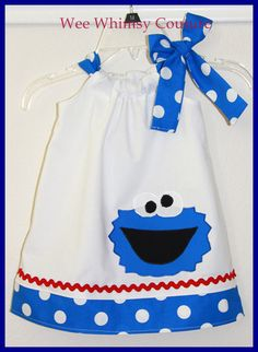 Cookie Monster Dress Sewing Ideas, Sewing Projects, Elmo And Cookie Monster, Bandana Dress, Sesame Street Party, Pillowcase Dresses, Girls Dresses, Summer Dresses, Baby Outfits