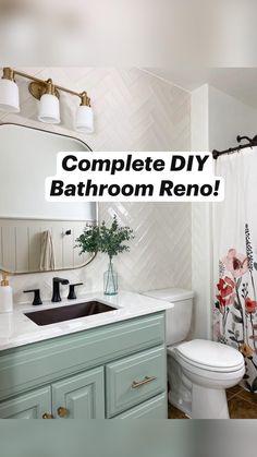 Diy Bathroom Reno, Bathroom Renos, Simple Bathroom, Master Bathroom, Remodel Bathroom, Modern Bathroom, Gray Bathroom Paint, Hooks In Bathroom, Small Bathroom Remodeling