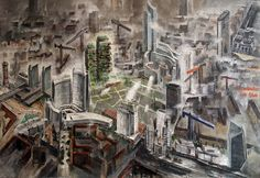 MILANO Porta Nuova - cantieri (CONSTRUCTION YARDS) oil and acrilics on metal table, cm 70x100 painted by Francesco Santosuosso in 2013 from http://francescosantosuosso.com