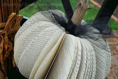 DIY-Fall  Book Page Pumpkin Tutorial ! Love the Tulle Ribbon Detail !!